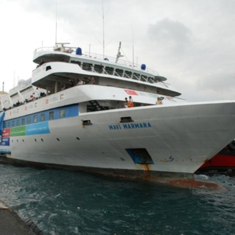 "The ""Mavi Marmara"" leaves Antalya, Turkey, for Gaza on May 22, 2010. Nine days later, it was at the center of the Gaza flotilla incident that led to a deterioration in Israel-Turkey relations. Credit: Free Gaza Movement via Wikimedia Commons."