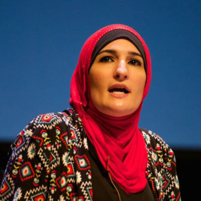 Demonstrating the intersectionality challenge for the Jewish community, Linda Sarsour (pictured), a lead organizer of the Women's March, seeks to isolate Jews from feminism, calling it incompatible with Zionism. Credit: Festival of Faiths via Wikimedia Commons.