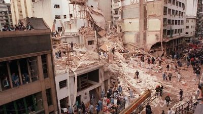 Remains of the AMIA Jewish center after the 1994 bombing in Buenos Aires, Argentina. Credit: La Nación via Wikimedia Commons.