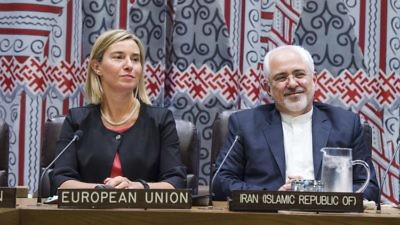 Iranian Foreign Minister Mohammad Javad Zarif (right) and Federica Mogherini, the European Union's high representative for foreign affairs and security policy, at a meeting on implementing the Iran nuclear deal Sept. 22, 2016, in New York. Credit: U.N. Photo/Amanda Voisard.