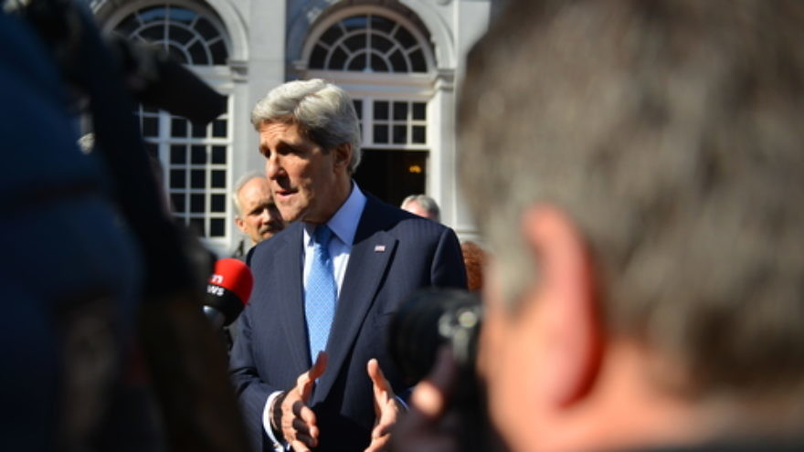 Click photo to download. Caption: U.S. Secretary of State John Kerry takes questions from Belgian TV at Egmont Palace in Brussels on April 24, 2013. Credit: State Department.