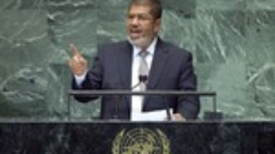 Click photo to download. Caption: Mohamed Morsi, president of Egypt, addresses the 67th United Nations General Assembly in September. UN Photo/Marco Castro.