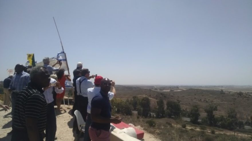 Click photo to download. Caption: During a solidarity mission arranged by Christians United for Israel, Evangelical pastors view Gaza from a hilltop in the southern Israeli city of Sderot. Credit: Sean Savage.