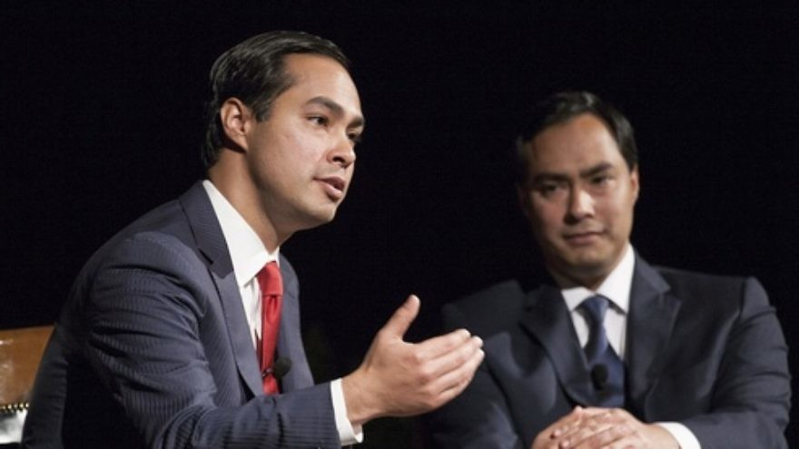 Click photo to download. Caption: San Antonio Mayor Julian Castro (left) and his twin brother U.S. Rep. Joaquin Castro (D-Texas) at the LBJ Presidential Library. Credit: Lauren Gerson via Wikimedia Commons.