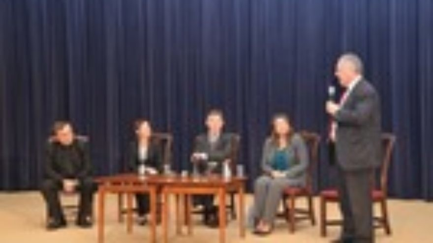 Click photo to download. Caption: From left to right, a panel that discussed history's implications for future behavior at the State Department on Monday: Father Patrick Desbois, president of Yahad-In Unum; Suzanne Brown-Fleming of the United States Holocaust Memorial Museum; Ambassador Douglass Davidson, Special Envoy for Holocaust Issues; Victoria Holt, Deputy Assistant Secretary at the State Department; and moderator Ambassador Michael Kozak, interim Special Envoy to Monitor and Combat Anti-Semitism. Credit: Maxine Dovere.