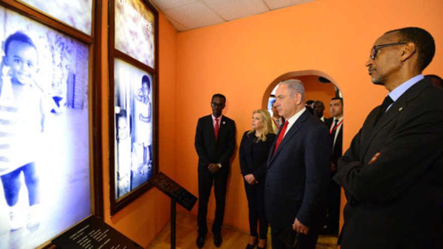 Click photo to download. Caption: On July 6, Israeli Prime Minister Benjamin Netanyahu and his wife Sara (both in center) visit the remembrance site for the victims of the 1994 Rwanda genocide in Kigali, Rwanda. The prime minister was on a four-day official state visit to Africa. Credit: Kobi Gideon/GPO.