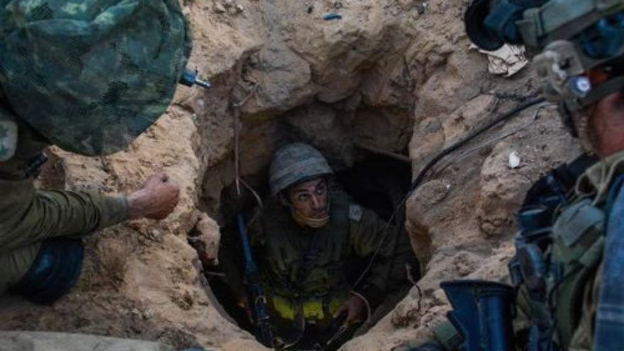 Click photo to download. Caption: Israeli soldiers from the Givati Brigade seen at the entrance to a Hamas terror tunnel during Operation Protective Edge. Credit: IDF Spokesperson/Flash90.