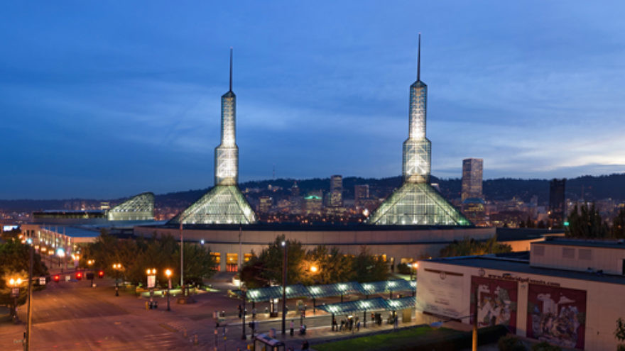 Click photo to download. Caption: The Oregon Convention Center in Portland, which hosts this month's United Methodist Church quadrennial General Conference. Credit: Fcb981 via Wikimedia Commons.