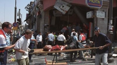 The suicide bombing at the Sbarro pizzeria in Jerusalem on Aug. 9, 2001, killed 13 Israelis, a pregnant American and one Brazilian. Photo by Flash90.