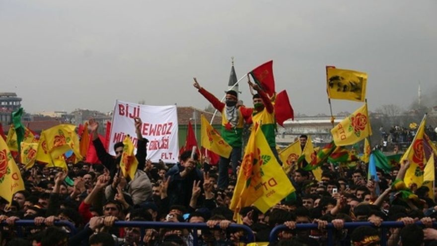 Click photo to download. Caption: Kurds celebrate Newroz, Kurdish society's traditional Persian new year holiday, in Istanbul in 2006. Credit: Bertilvidet via Wikimedia Commons.