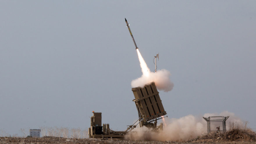 Israel's Iron Dome system launches a missile to intercept a rocket coming from Gaza. Credit: Israel Defense Forces.