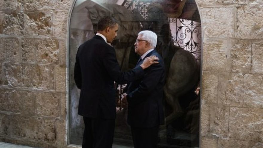 U.S. President Barack Obama and Palestinian Authority President Mahmoud Abbas speak following their tour of the Church of the Nativity in Bethlehem March 22, 2013. Credit: The White House.