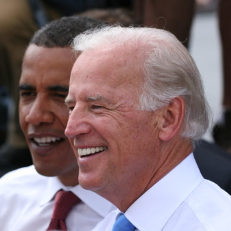 Joe Biden and Barack Obama in Springfield, Illinois, on Aug. 23, 2008, right after Biden was introduced by Obama as his running mate. Credit: Daniel Schwen via Wikimedia Commons.