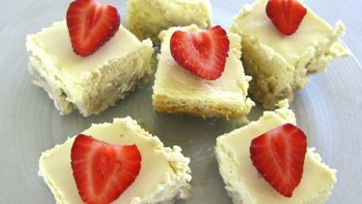 Click photo to download. Caption: Cheesecake bars. Credit: Mollie Katzen.