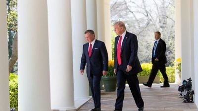 President Donald Trump and Jordan's King Abdullah (left) meet at the White House on April 5, 2017. Credit: White House/Shealah Craighead.