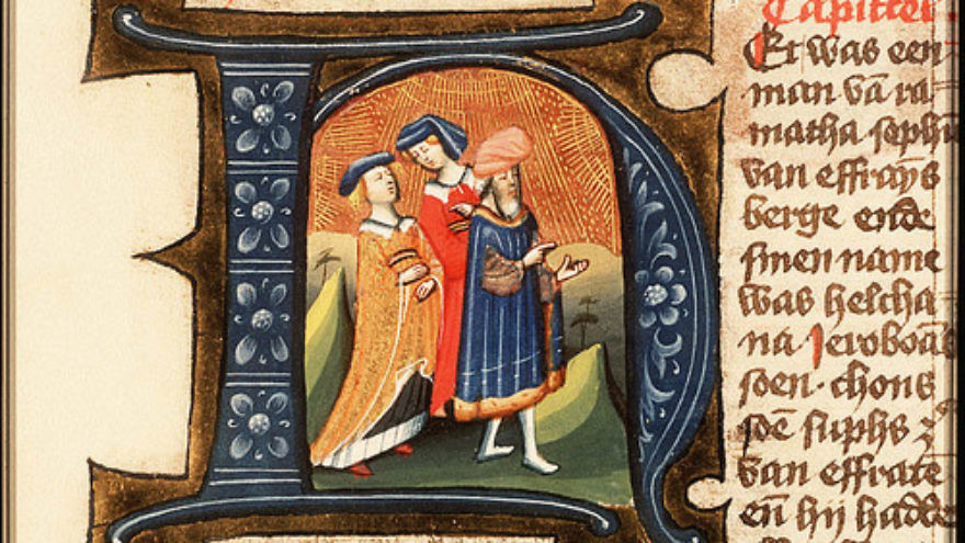 Click photo to download. Caption: An illustration of Elkanah and his two wives. In honor of Father's Day 2013, JNS.org compiled some quick facts about some rather un-famous (though not all infamous) fathers of famous biblical characters, including Elkanah. Credit: Masters of Utrecht/Wikimedia Commons
