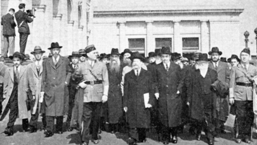 Click photo to download. Caption: The beginning of the October 1943 march by more than 400 rabbis in Washington, DC,  three days before Yom Kippur. The marchers are pictured here at Washington's Union Station. Credit: Courtesy The David S. Wyman Institute for Holocaust Studies.