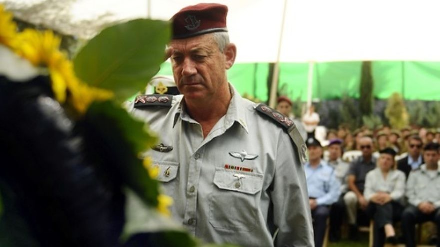 The Israel Defense Forces salutes Yom Kippur War heroes at an official annual memorial service for fallen soldiers on Oct. 9, 2011. Pictured is IDF Chief of Staff Lt. Gen. Benny Gantz. Credit: Sgt. Ori Shifrin, IDF Spokesperson's Unit.
