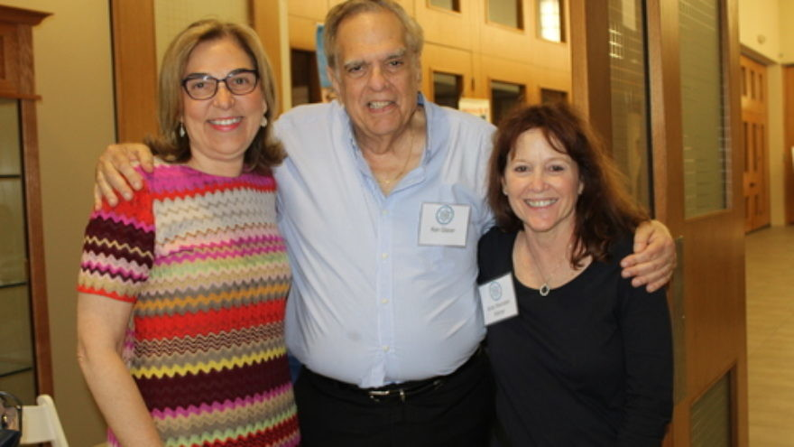 Left to right: Lillian Pinkus, President of AIPAC, Ken Glaser, Chair of Temple Shalom's Israel Connection Committee, Anita Weinstein Warner, Administrative Assistant to Ken Glaser. Credit: Temple Shalom.