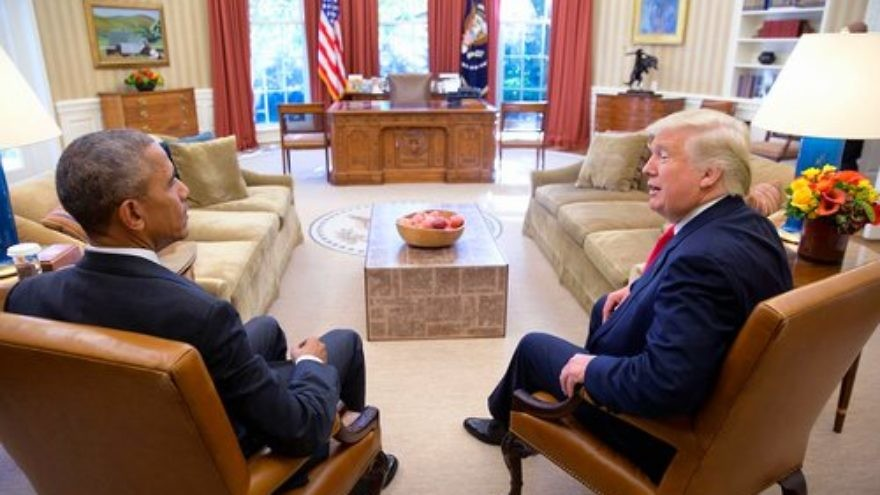President Barack Obama sits with then President-elect Donald Trump in the Oval Office, Nov. 10, 2016. Credit: Wikimedia Commons.
