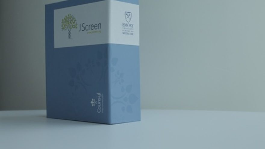 Click photo to download. Caption: A box containing the new JScreen kit, which enables users to test for the 19 known preventable Jewish genetic diseases. Credit: Courtesy of JScreen.