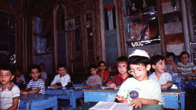 Jewish students at the Maimonides school in Damascus, Syria, on Feb. 9, 1991. During a visit to Brooklyn in 1998, Reserve Cut owner Albert Allaham decided not to return to Damascus and remained with his older brother in the New York City borough's close-knit Syrian Jewish community. Credit: Diaspora Museum Visual Documentation Archive, Tel Aviv.