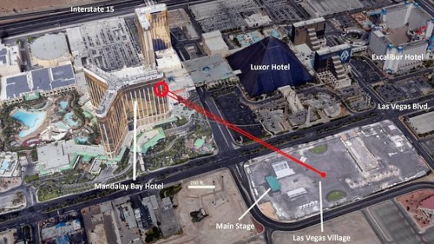 A diagram illustrating the position and view the perpetrator of the Las Vegas shooting had on the country music festival. Credit: Wikimedia Commons.