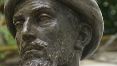 Click photo to download. Caption: A bronze statue of Maimonides in Cordoba, Spain. Credit: David Baron via Wikimedia Commons.