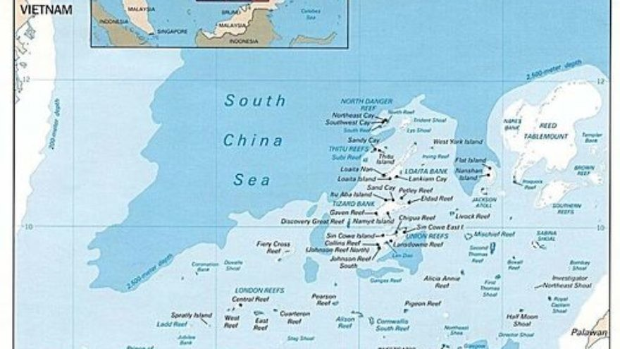 A map of the disputed Spratly Islands in the South China Sea. Credit: Wikimedia Commons.