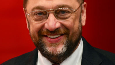 Click photo to download. Caption: European Parliament President Martin Schulz, pictured, approvingly cited a claim that Palestinians receive 17 liters of water daily, as compared to 70 for Israelis. According to the Israel Water Authority, the residents of the Palestinian Authority-controlled areas consume an average of 165 liters daily, while the average Israeli uses 183. Credit: Moritz Kosinsky via Wikimedia Commons.