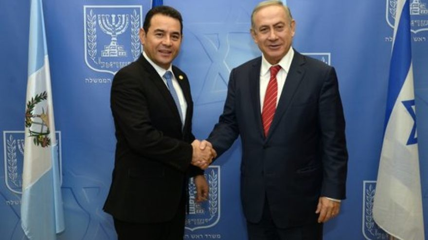 While meeting with Guatamalan President Jimmy Morales (pictured above) Nov. 29, 2016, Israeli Prime Minister Benjamin Netanyahu decided to visit Latin America, which happens next month. Credit: Haim Zach/GPO.