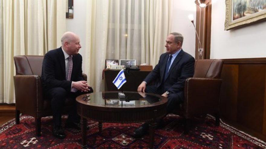 Jason Greenblatt, U.S. Assistant to the President and Special Representative for International Negotiations, meets with Israeli Prime Minister Benjamin Netanyahu in Jerusalem, December 2017. Credit: Kobi Gideon/GPO.