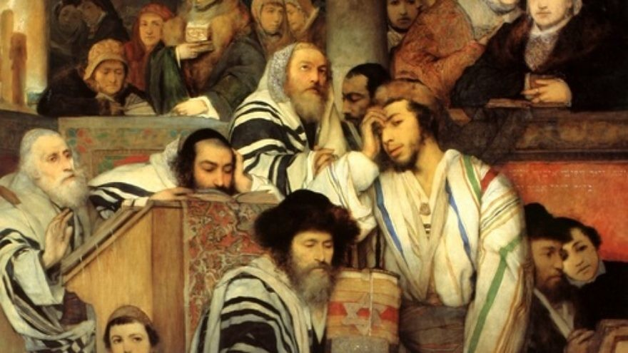 Click photo to download. Caption: All illustration of Jews praying in synagogue on Yom Kippur. The term Tikkun Olam is misused due to ignorance in the pursuit of virtuous goals and principles which have become a poor substitute for authentic religious observance, writes Grand Rabbi Y. A. Korff. Credit: Maurycy Gottlieb.