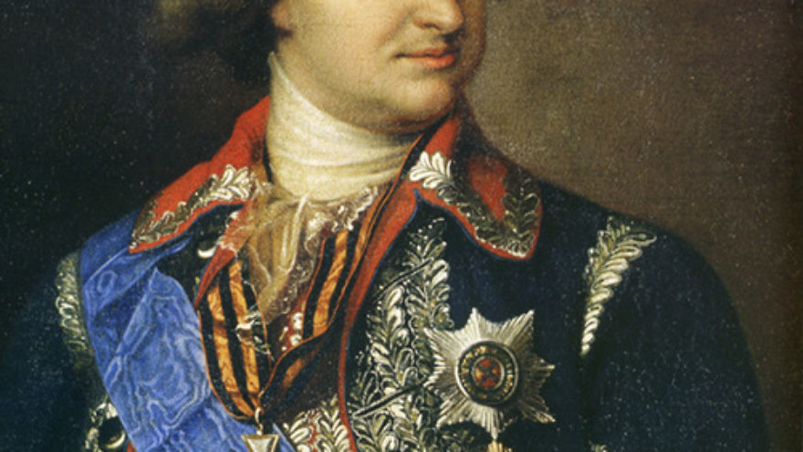 """Click photo to download. Caption: Grigory Alexandrovich Potemkin, a Russian cabinet minister, is said to have constructed fake villages to impress the Czarina Catherine II during her visit to the Crimea in 1787 just like the Palestinian Authority recently removed a monument showing all of Israel as """"Palestine"""" from the travel route of U.S. President Barack Obama. Credit: Wikimedia Commons."""