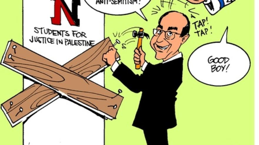 "Click photo to download. Caption: A cartoon posted on the Facebook page of Northeastern University's Students for Justice in Palestine chapter—which was recently suspended for a year—depicts University President Joseph Aoun nailing boards on the door of the student group. Mirroring the conspiracy theory that Israel controls American foreign policy, the cartoon features a disembodied arm from the sky—with a Star of David and ""The Lobby"" written on its sleeve—patting Aoun on the head. Credit: Northeastern SJP Facebook page."
