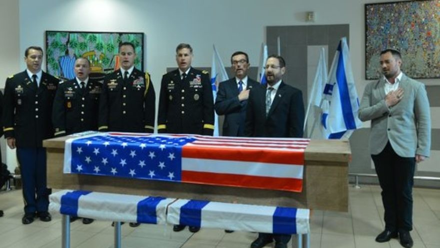 A goodbye ceremony at Ben-Gurion International Airport for Taylor Force, a U.S. Army veteran killed in a Palestinian terror attack in Jaffa, before his body was sent back to America for burial in March 2016. Legislation named after Force would cut U.S. economic aid to the Palestinian Authority if it continues to issue payments to terrorists and their families. Credit: Tomer Neuberg/Flash90.