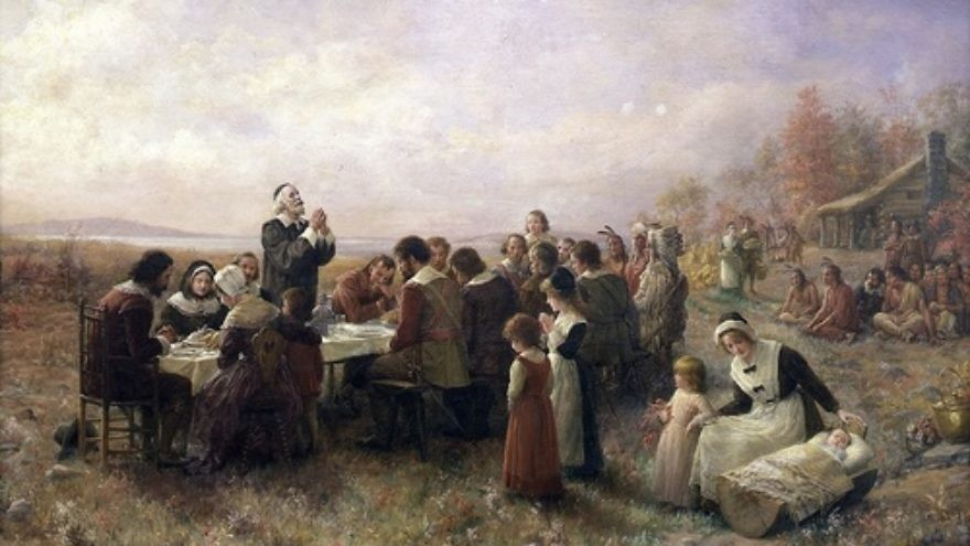 """The First Thanksgiving at Plymouth,"" by Jennie A. Brownscombe. JNS.org examines whether Thanksgiving was shaped by Sukkot. Credit: Jennie Augusta Brownscombe via Wikimedia Commons."