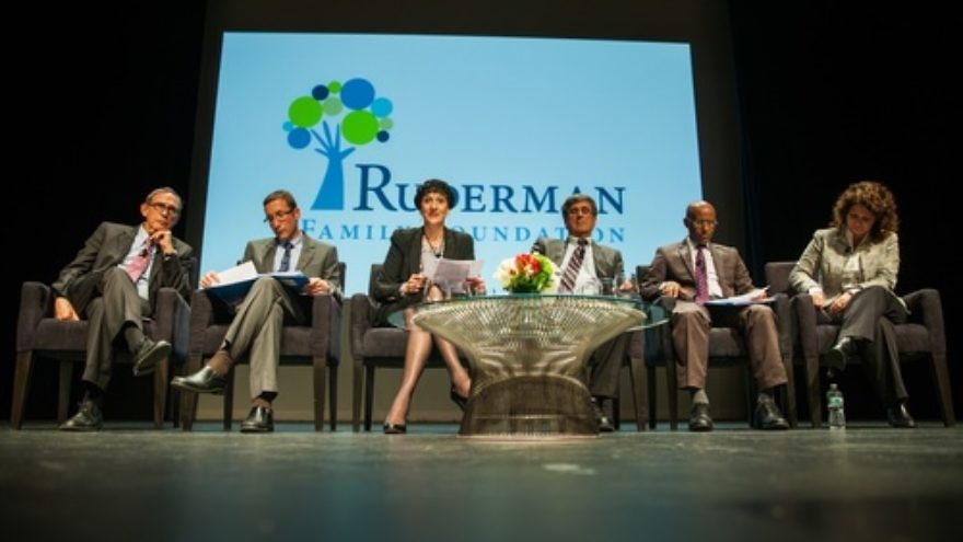 Click photo to download. Caption: Six Israeli Members of Knesset on stage at the Ruderman Family Foundation's town hall forum at Northeastern University in Boston on April 1. From left to right: Nachman Shai (Labor), Itzik Shmuli (Labor), Shulamit Mualem Rephaeli (Habayit Hayehudi), Shimon Ohayon (Likud Beiteinu), Shimon Solomon (Yesh Atid), and Michal Rozin (Meretz). Credit: Eric Haynes.