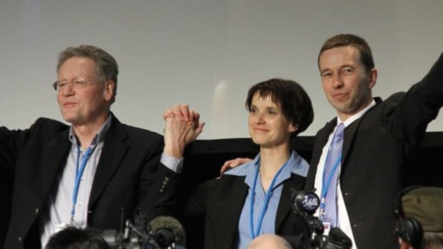 From left to right, Konrad Adam, Frauke Petry and Bernd Lucke during the Alternative for Germany party's first-ever convention, in April 2013 in Berlin. Credit: Mathesar via Wikimedia Commons.