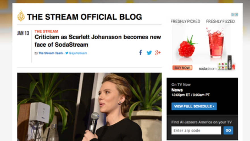 Click photo to download. Caption: A Jan. 13 Al Jazeera America blog post on criticism of Scarlett Johansson for her new role as pitch woman for the Israel-based company SodaStream. Al Jazeera America's coverage of Johansson's 2014 Super Bowl commercial for SodaStream was misleading, write Myron Kaplan and Eric Rozenman of CAMERA. Credit: Al Jazeera America screenshot.