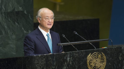 Yukiya Amano, director general of the International Atomic Energy Agency, the nuclear watchdog of the United Nations, addresses the U.N. General Assembly as it considers a report of the IAEA on Dec. 12, 2016. Credit: U.N. Photo/Rick Bajornas.