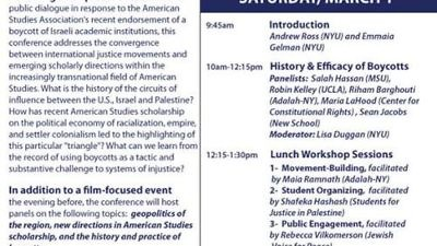 """Click photo to download. Caption: A flyer for a Feb. 28-March 1 anti-Israel event at NYU titled """"Circuits of Influence: U.S., Israel, and Palestine,"""" hosted by the American Studies Association's president-elect. Credit: Facebook."""