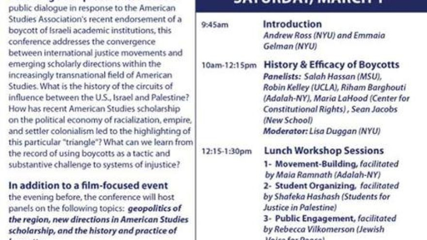 "Click photo to download. Caption: A flyer for a Feb. 28-March 1 anti-Israel event at NYU titled ""Circuits of Influence: U.S., Israel, and Palestine,"" hosted by the American Studies Association's president-elect. Credit: Facebook."