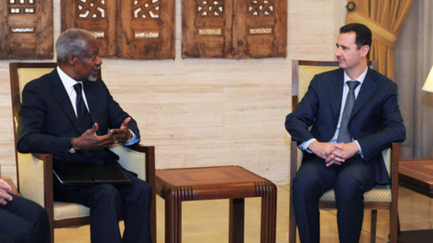 Kofi Annan (left), then the joint envoy of the United Nations and the Arab League on the Syrian crisis, meets with Syrian President Bashar al-Assad in Damascus on March 10, 2012. From 1998-2014, Rutgers university professor Dr. Mazen Adi served in the Syrian Foreign Ministry and with Syria's U.N. delegation. Jewish leaders are criticizing Rutgers for its continued employment of Adi, who has vigorously defended Assad. Credit: U.N. Photo/Reuters/SANA.