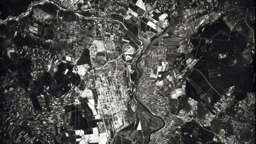 Click photo to download. Caption: An aerial surveillance photo that U.S. pilots took over Auschwitz in 1944. Credit: Courtesy of the David S. Wyman Institute for Holocaust Studies.
