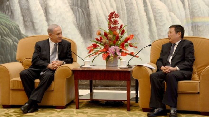 Click photo to download. Caption: Prime Minister of Israel Benjamin Netanyahu (L) meets with Mayor of Shanghai Yang Xiong (R) in Shanghai on May 7, 2013. Credit: Avi Ohayon/GPO/FLASH90.