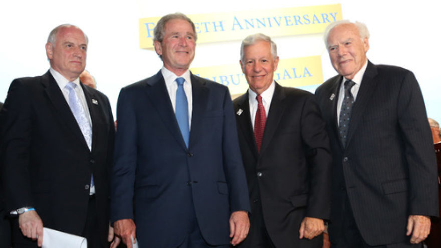 Click photo to download. Caption: From left to right, Conference of Presidents Executive Vice Chairaman Malcolm Hoenlein, former U.S. President George W. Bush, Conference of Presidents Chaiman Robert G. Sugarman, and Conference of Presidents past chairman Melvin Salberg at the 50th anniversary tribute gala for the Conference of Presidents on Tuesday in New York. Credit: ©Michael Priest Photography.