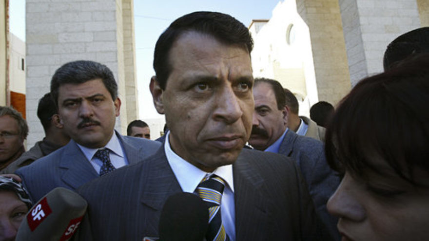 Former Palestinian Fatah Party lawmaker Mohammed Dahlan, who is viewed as a potential successor to Palestinian Authority leader Mahmoud Abbas, speaks to the media in December 2006. Credit: Michal Fattal/Flash90.