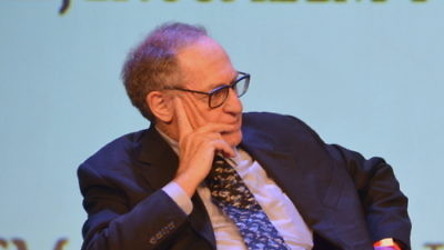 Click photo to download. Caption: Harvard University law professor Alan Dershowitz on stage at the second annual Jerusalem Post Conference in New York City. Dershowitz and Jerusalem Post columnist Caroline Glick sharply disagreed on a two-state solution to the Israeli-Palestinian conflict, and Dershowitz's comments were laughed at by the audience. Credit: Maxine Dovere.