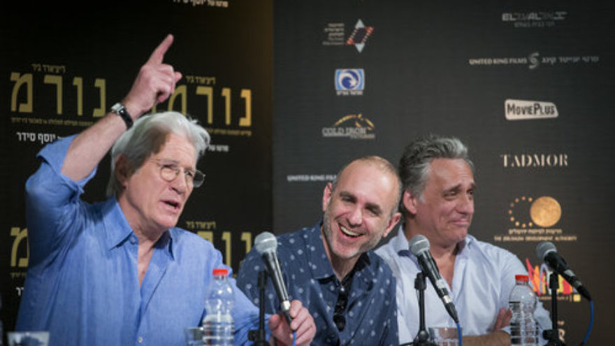 "Hollywood actor Richard Gere (left), Israeli film director Joseph Cedar (center) and Israeli actor Lior Ashkenazi attend a press conference for the new movie ""Norman""—which stars Gere and Ashkenazi—at the Jerusalem Cinematheque March 9, 2017. Credit: Yonatan Sindel/Flash90."